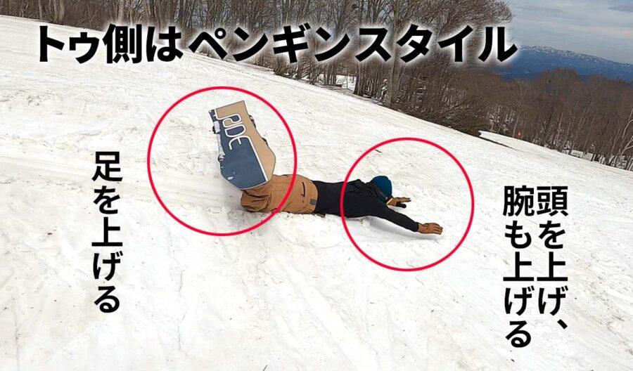 前に転倒するときはヘッドスライディングする